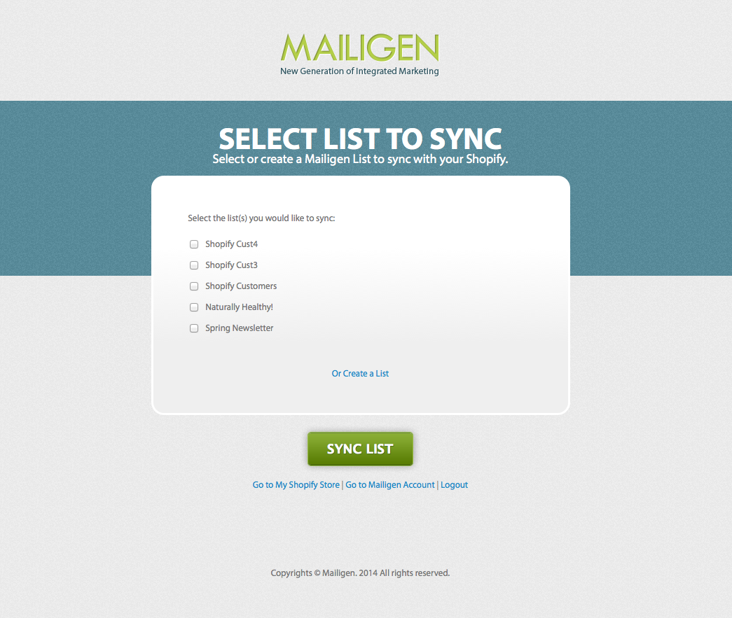 Shopify-Mailigen-integration-choose-list